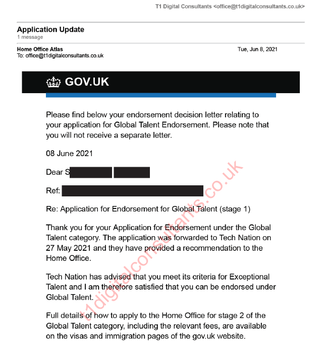 Endorsement Application Approval Letter Home Office